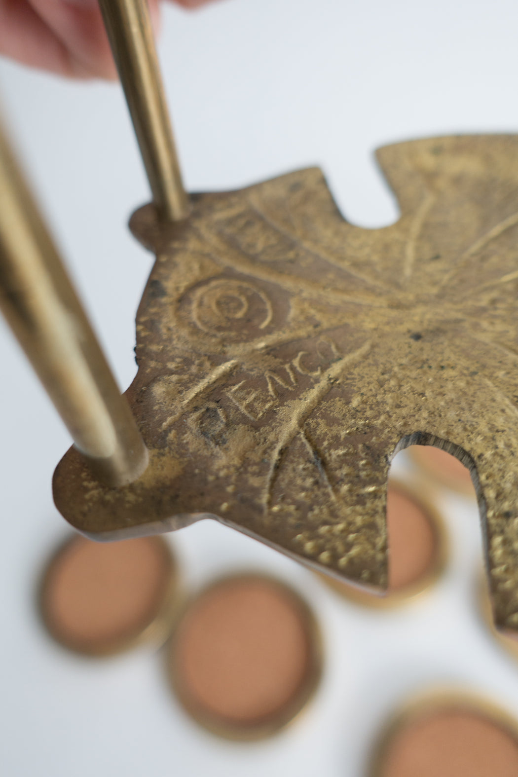 Vintage Brass Sand Dollar Coaster Set