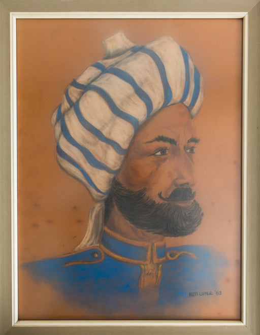 Vintage Indian Soldier Pastel Portrait Drawing
