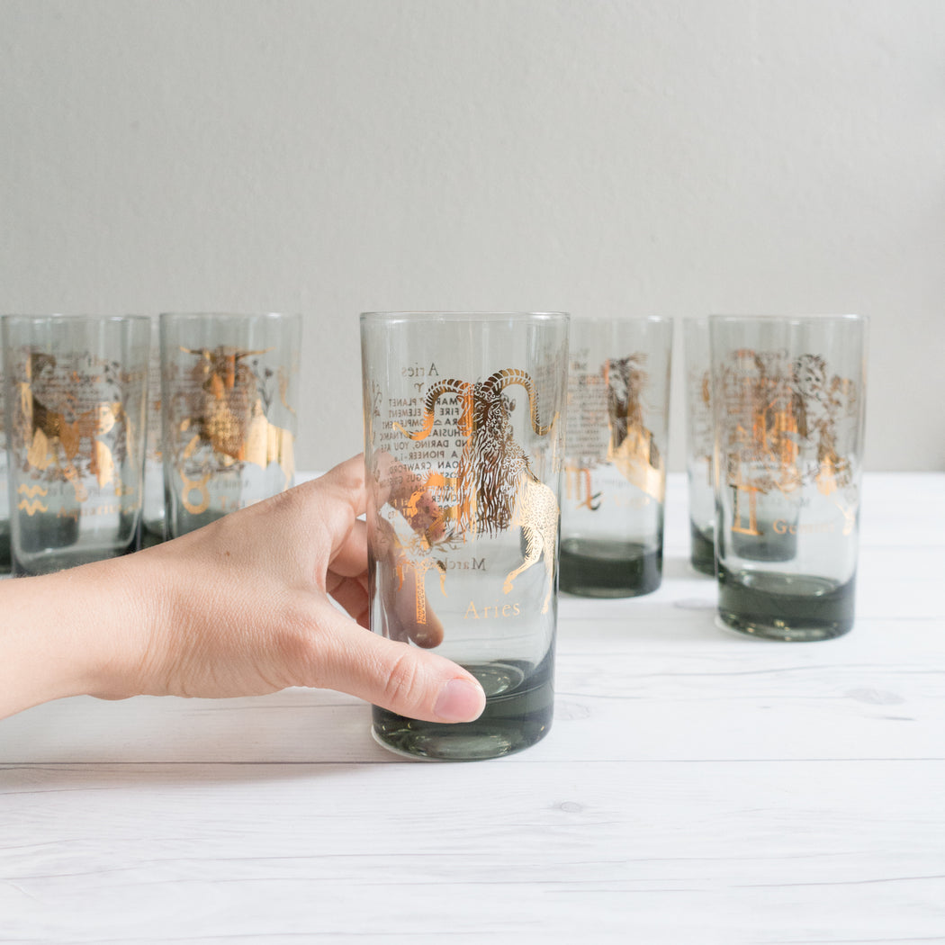 Set of 8 Vintage Astrology Zodiac Glasses