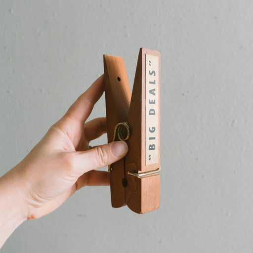 "Vintage Oversized ""Big Deals"" Clothespin"