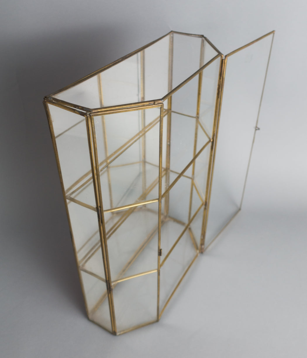 "Vintage 15"" Glass Curio Display Box Shelf"