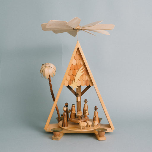Vintage A-Frame Nativity | German Spinning Christmas Pyramid Candle Holder