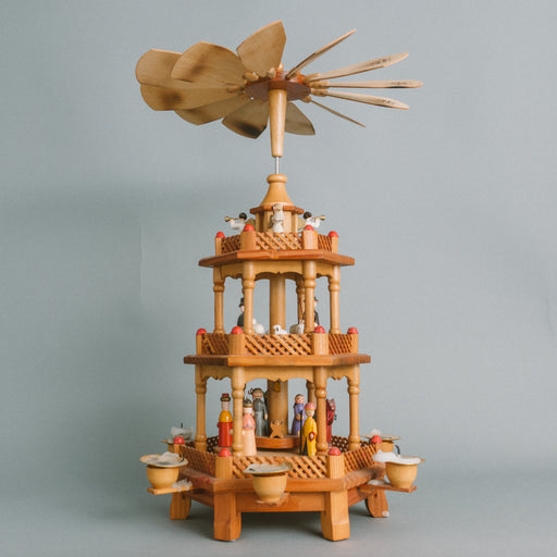 Vintage German Spinning Nativity | Wooden Christmas Pyramid Candle Holder