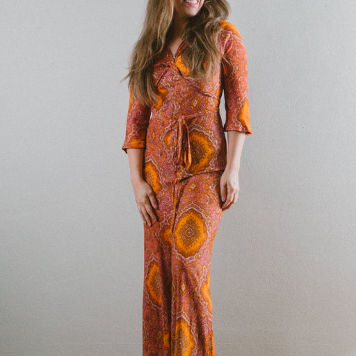 Vintage Psychedelic Jumpsuit 1960s Bell Bottom Romper Orange and Yellow