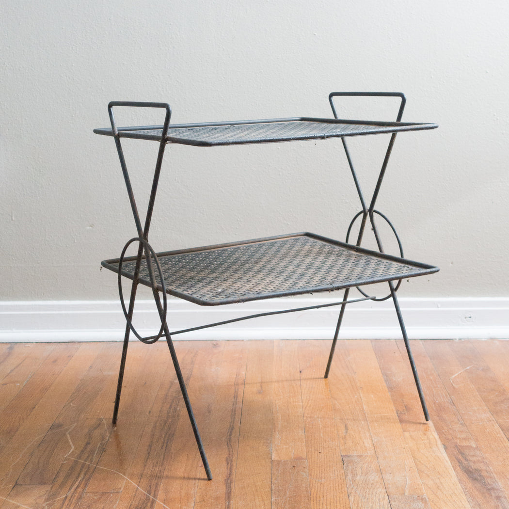 Mid Century Black Iron Side Table Shelf