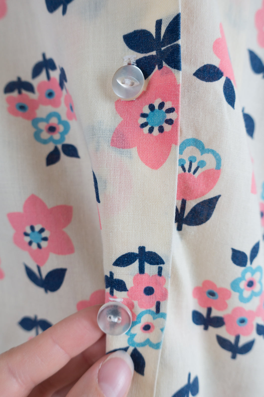 Vintage Sleeveless Button Down Collared Shirt with Pink Flowers