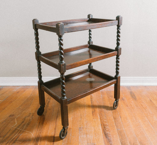 Antique Wooden Barley Twist Cart | Three Level Spiral Leg Edwardian Serving Cart