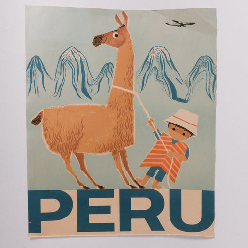 Vintage Peru Travel Poster Braniff Airways