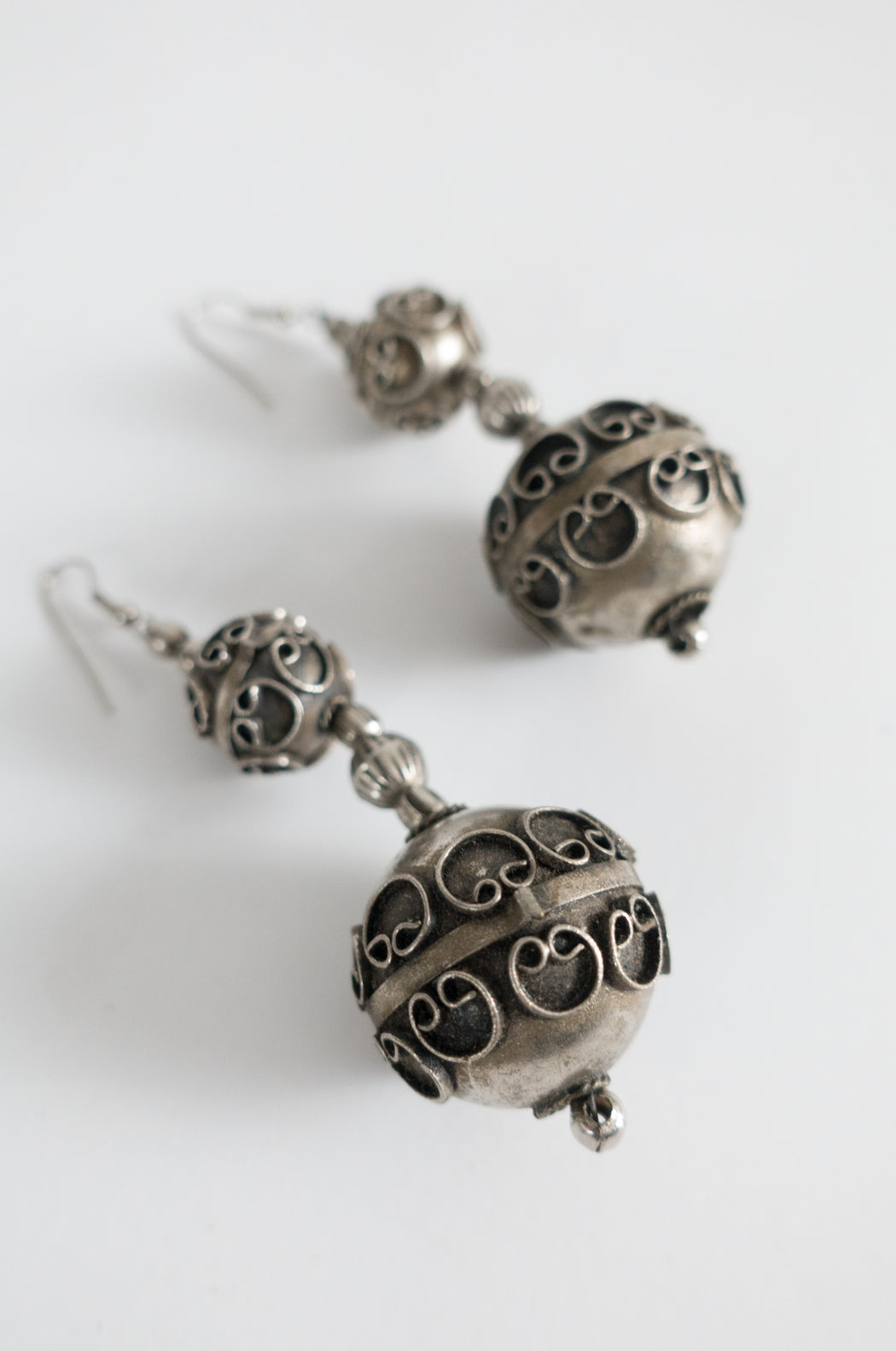 Vintage Chunky Silver Pendant Earrings