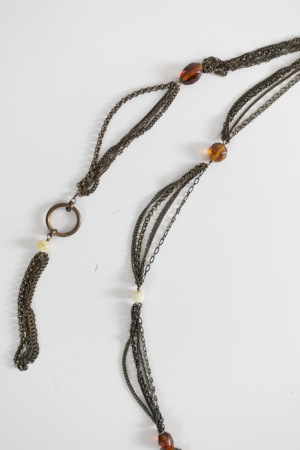 Antique Chain Belt with Amber Beads