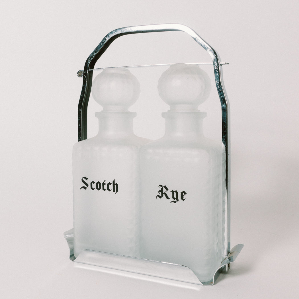 Vintage Locking Liquor Decanter Set