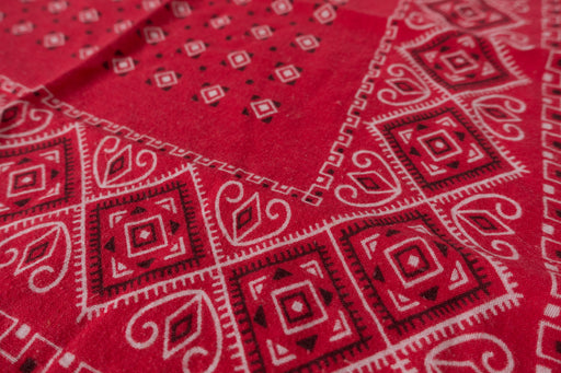 Vintage Red Elephant Bandana Trunk Up Western Geometric Handkerchief