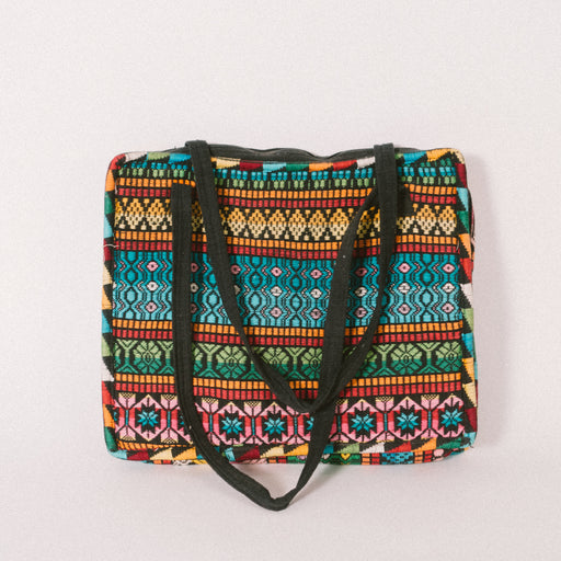 Vintage Guatemalan Laptop Bag | Padded Woven Fabric Tote