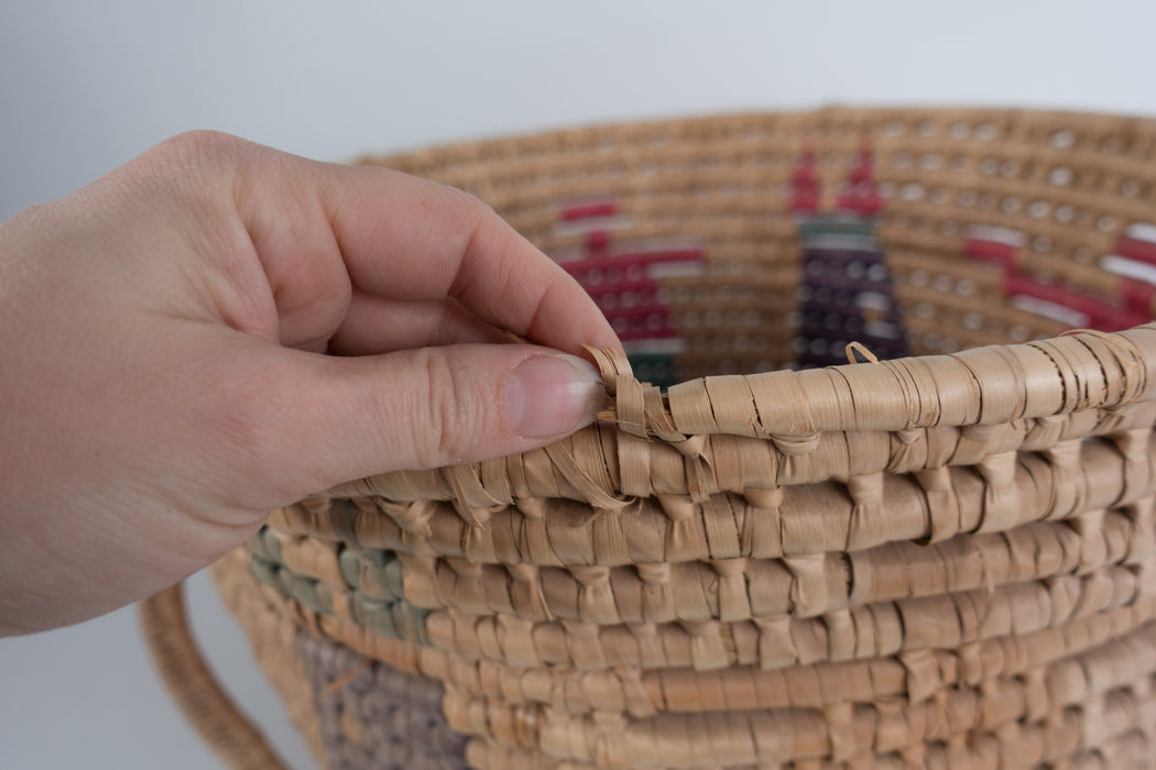Vintage Wrapped Straw Storage Basket
