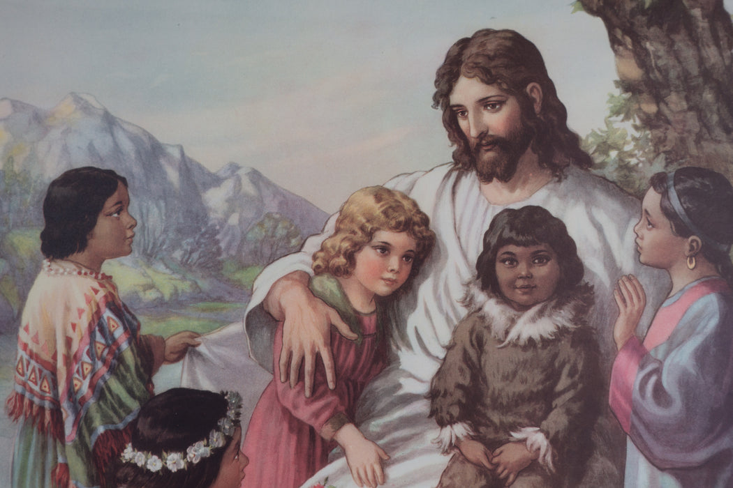 Vintage 1940's Sunday School Poster // Jesus and Children of Many Nations