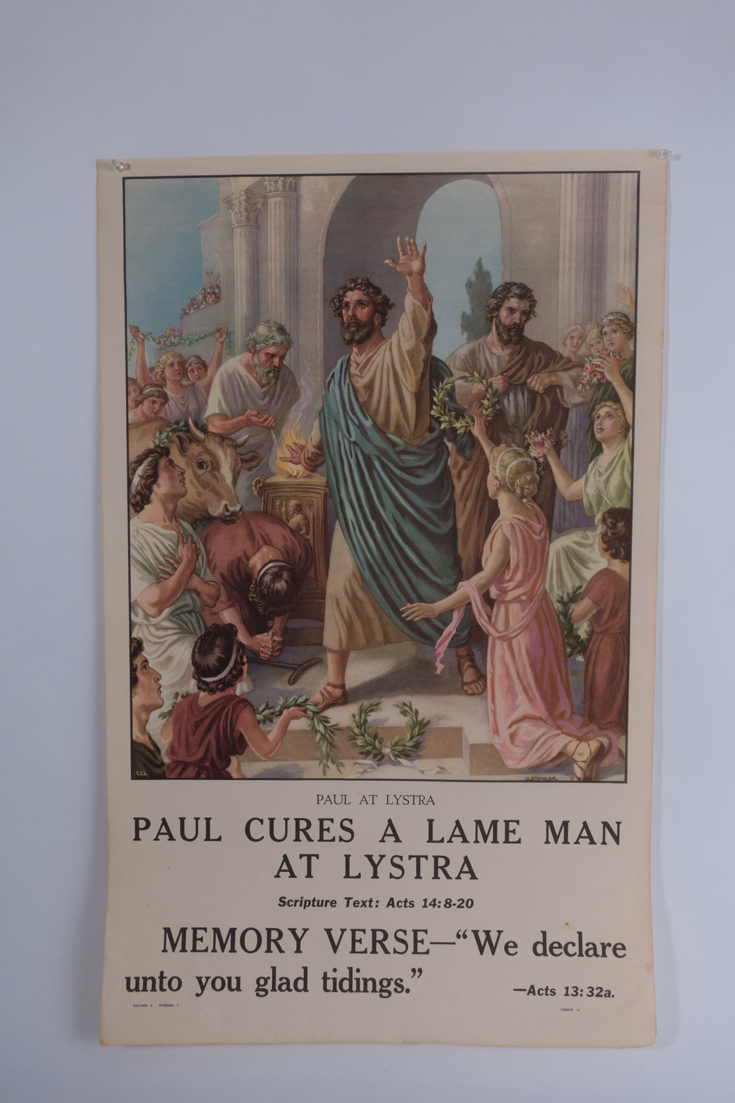 Vintage 1940's Sunday School Poster // Paul Cures a Lame Man at Lystra
