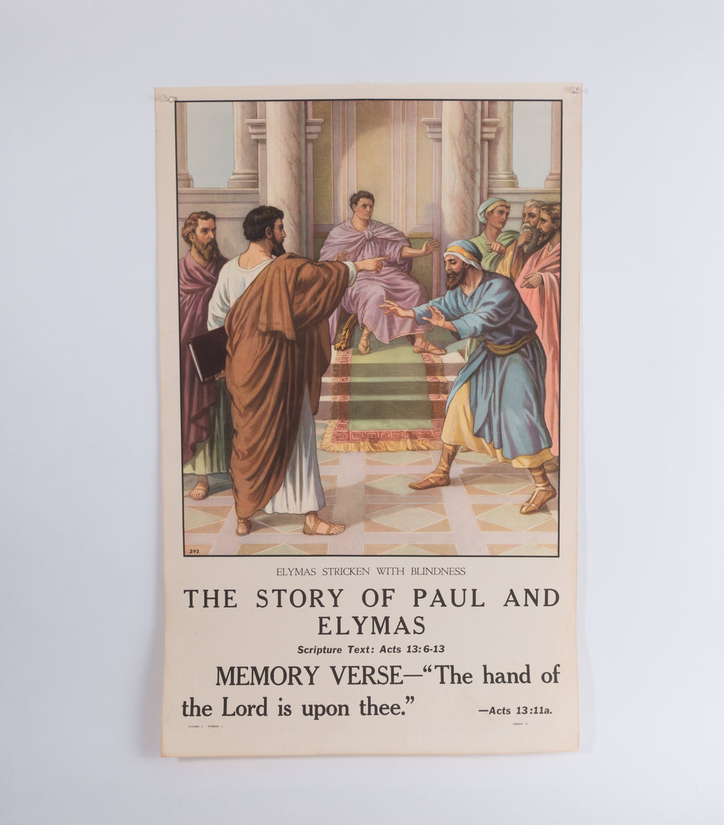 Vintage 1940's Sunday School Poster // The Story of Paul and Elymas