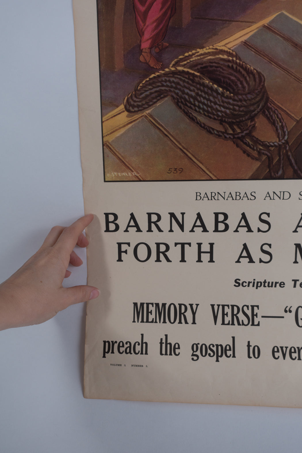 Vintage 1940's Sunday School Poster // Barnabas and Saul Go Forth As Missionaries
