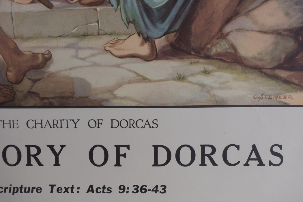 Vintage 1940's Sunday School Poster // The Story of Dorcas