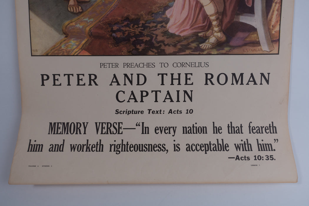 Vintage 1940's Sunday School Poster // Peter and The Roman Captain