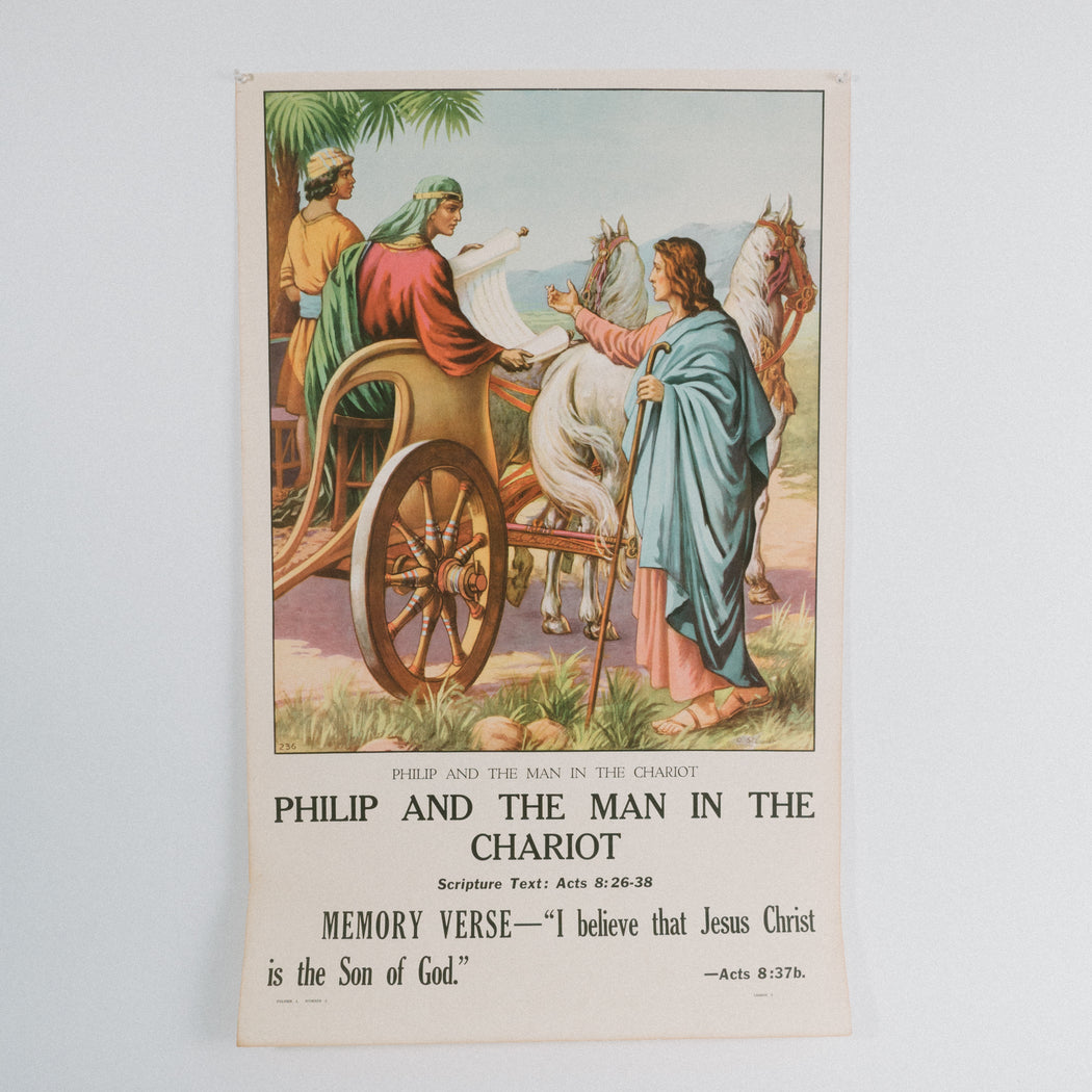 Vintage 1940's Sunday School Poster // Philip and the Man in the Chariot