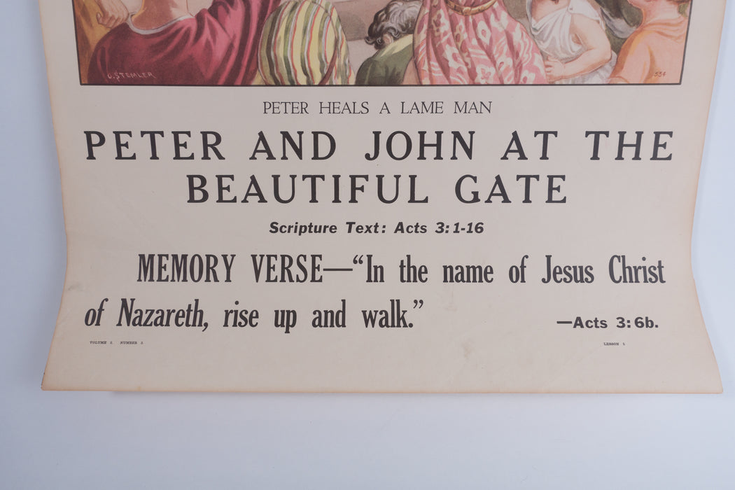 Vintage 1940's Sunday School Poster // Peter and John at the Beautiful Gate