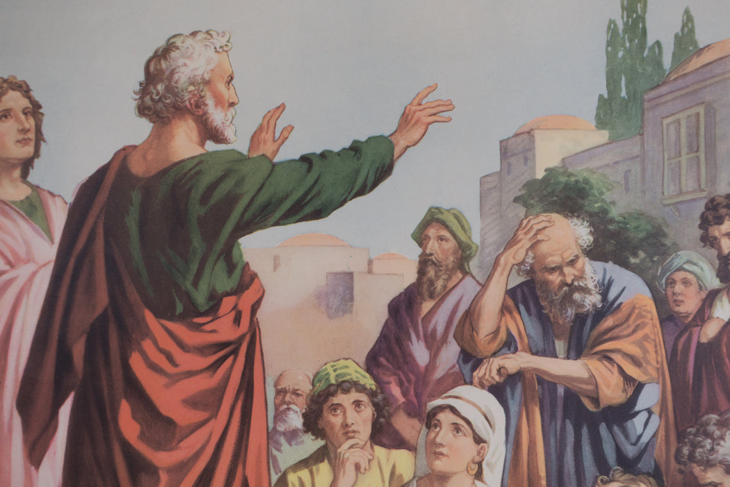 Vintage 1940's Sunday School Poster // Peter Tells That Jesus Lives