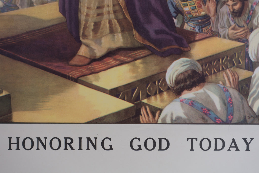 Vintage 1940's Sunday School Poster // Honoring God Today