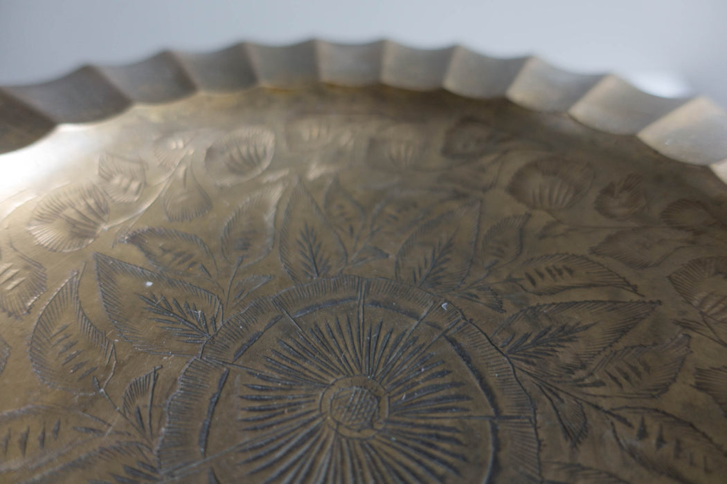 Vintage Engraved Indian Brass Ash Tray