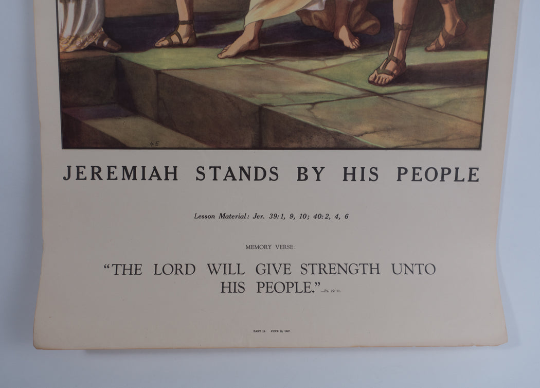 Vintage 1940's Sunday School Poster // Jeremiah Stands By His People