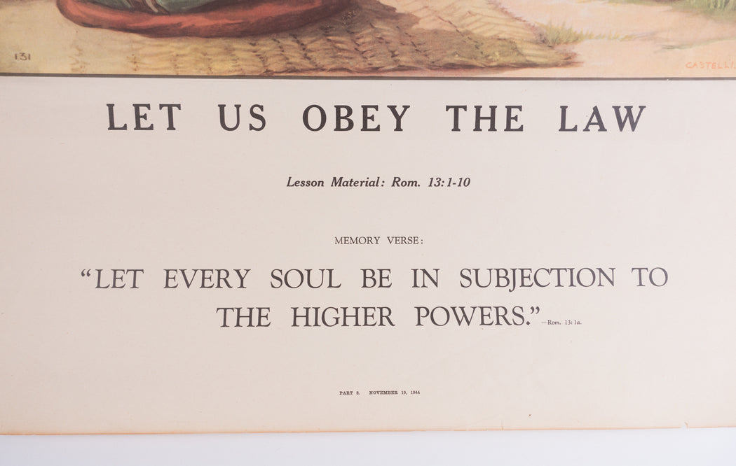 Vintage 1940's Sunday School Poster // Let Us Obey The Law