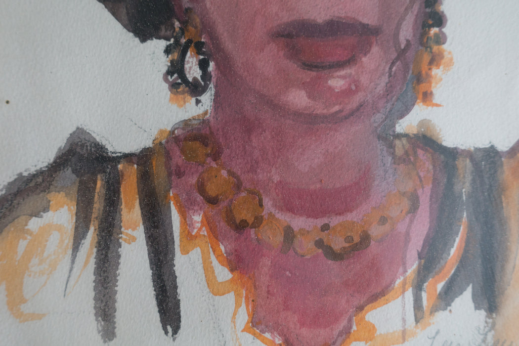 Vintage Watercolor Portrait by Lois Lawrence