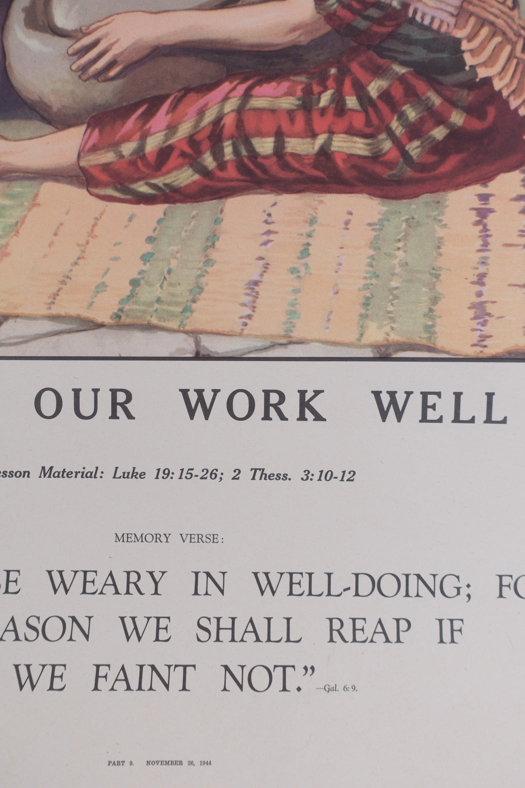 Vintage 1940's Sunday School Poster // Doing Our Work Well