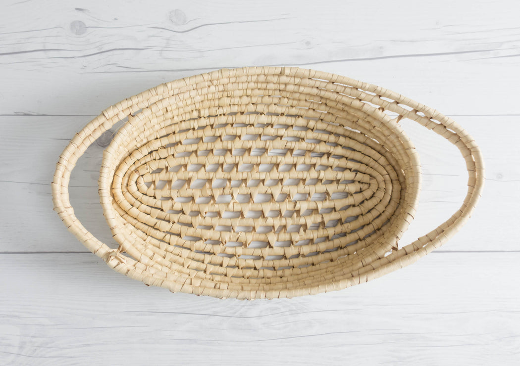 Vintage Wicker Tray Oval Basket