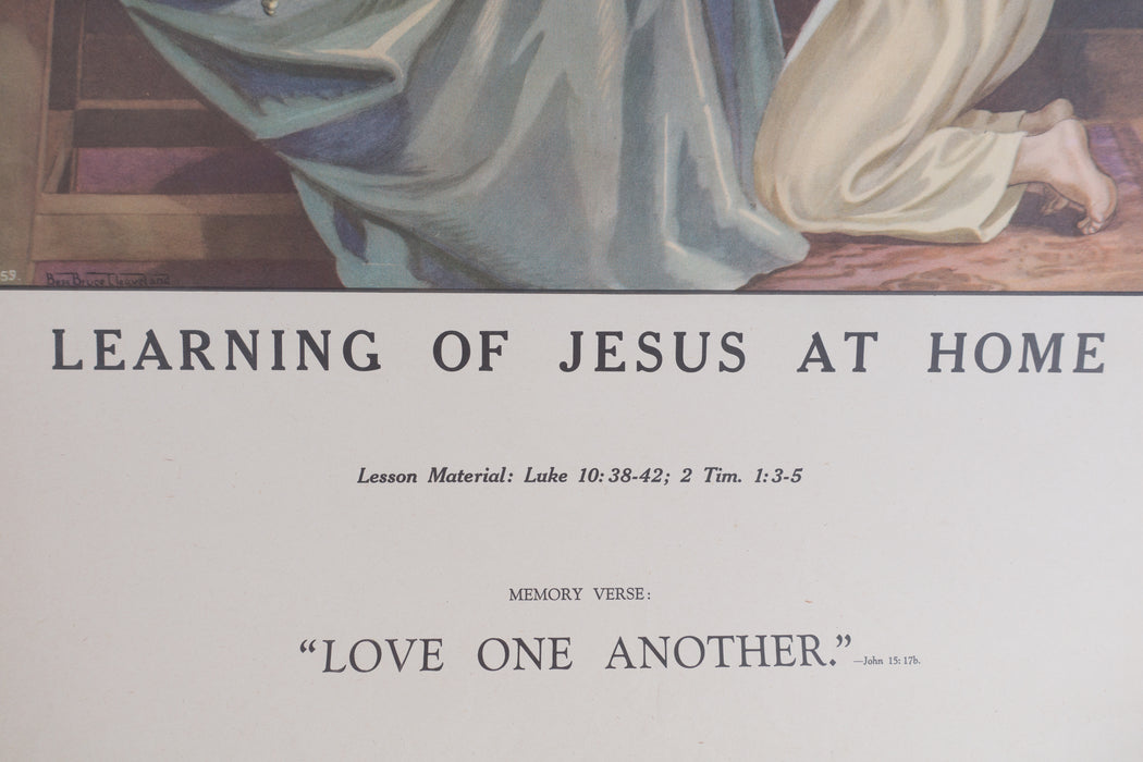 Vintage 1940's Sunday School Poster // Learning Of Jesus At Home