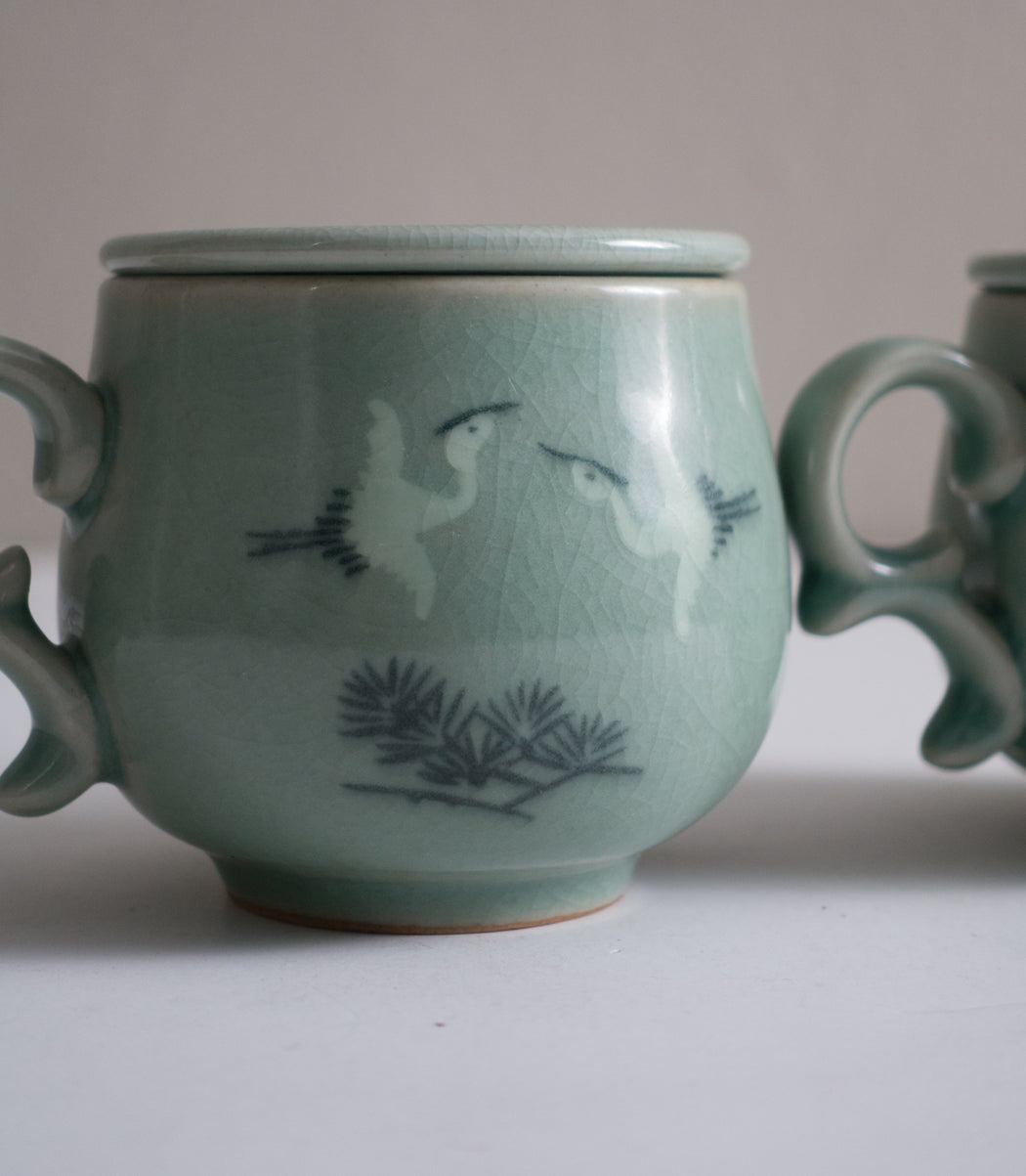 Set of Two Vintage Japanese Tea Cups with Infusers