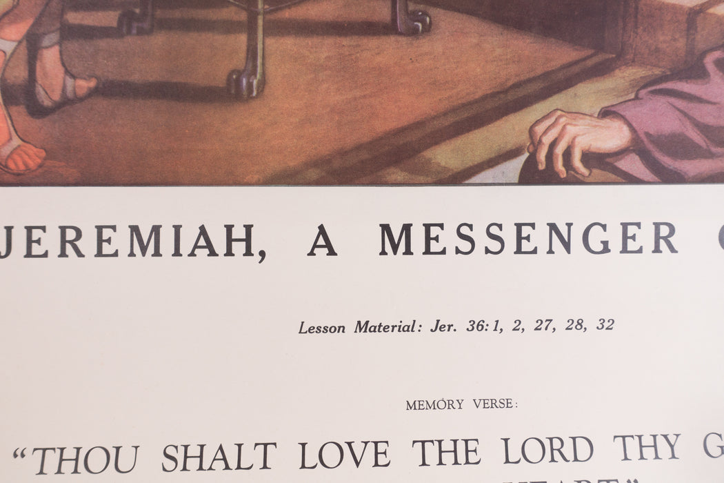 Vintage 1940's Sunday School Poster // Jeremiah, A Messenger Of God