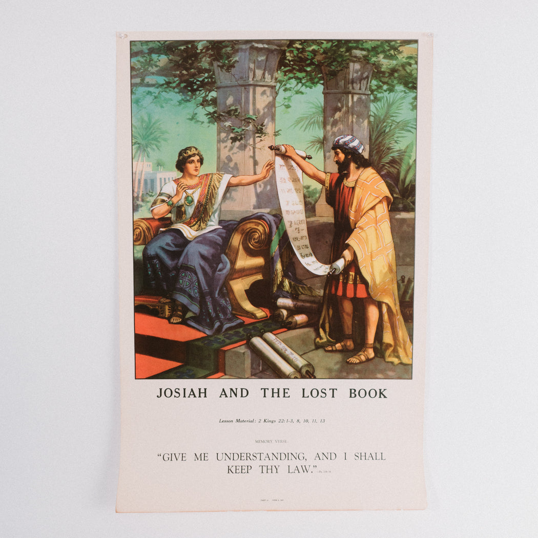 Vintage 1940's Sunday School Poster // Josiah And The Lost Book