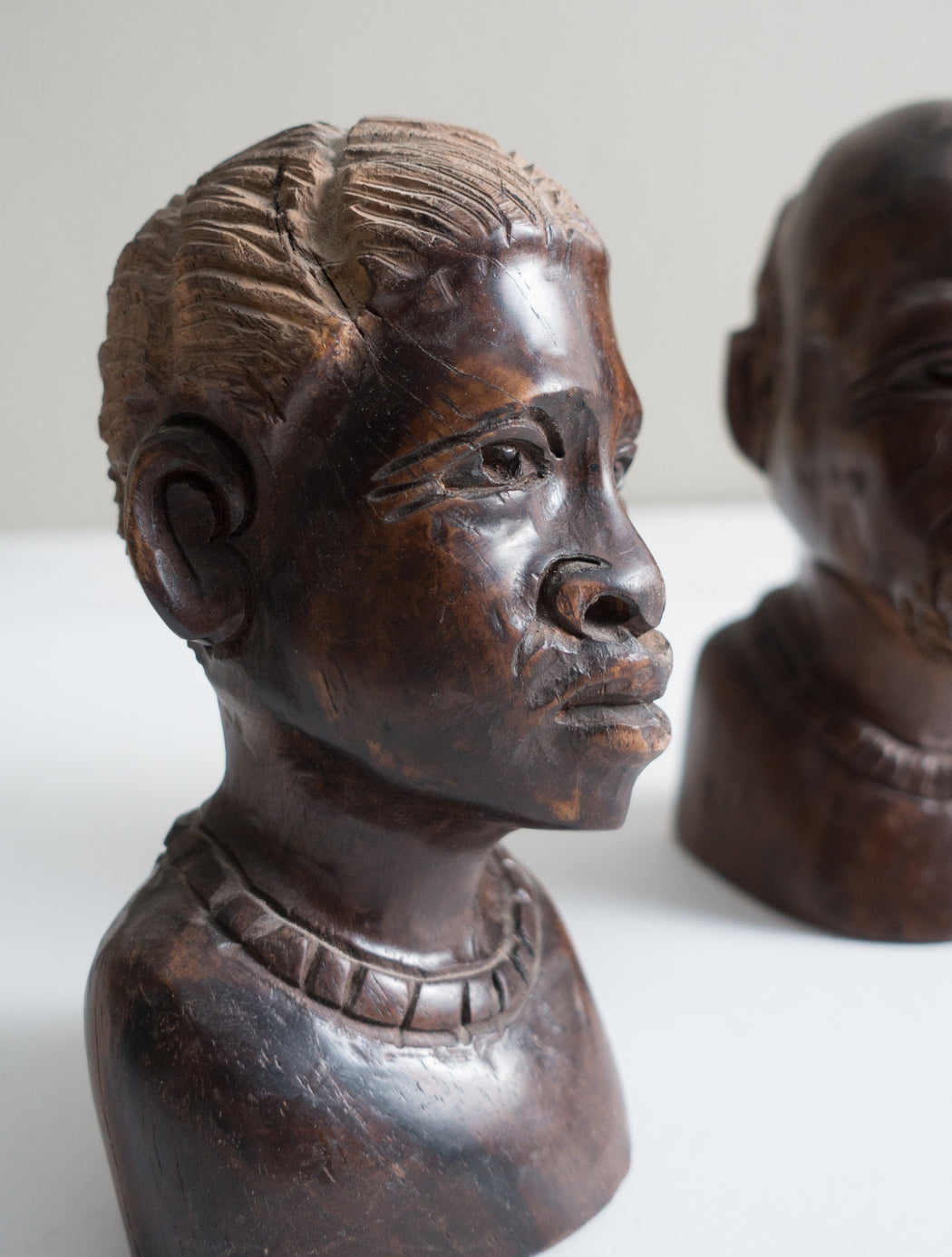 Set of Two Vintage African Busts