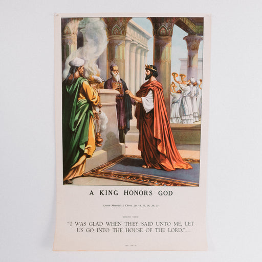 Vintage 1940's Sunday School Poster // A King Honors God