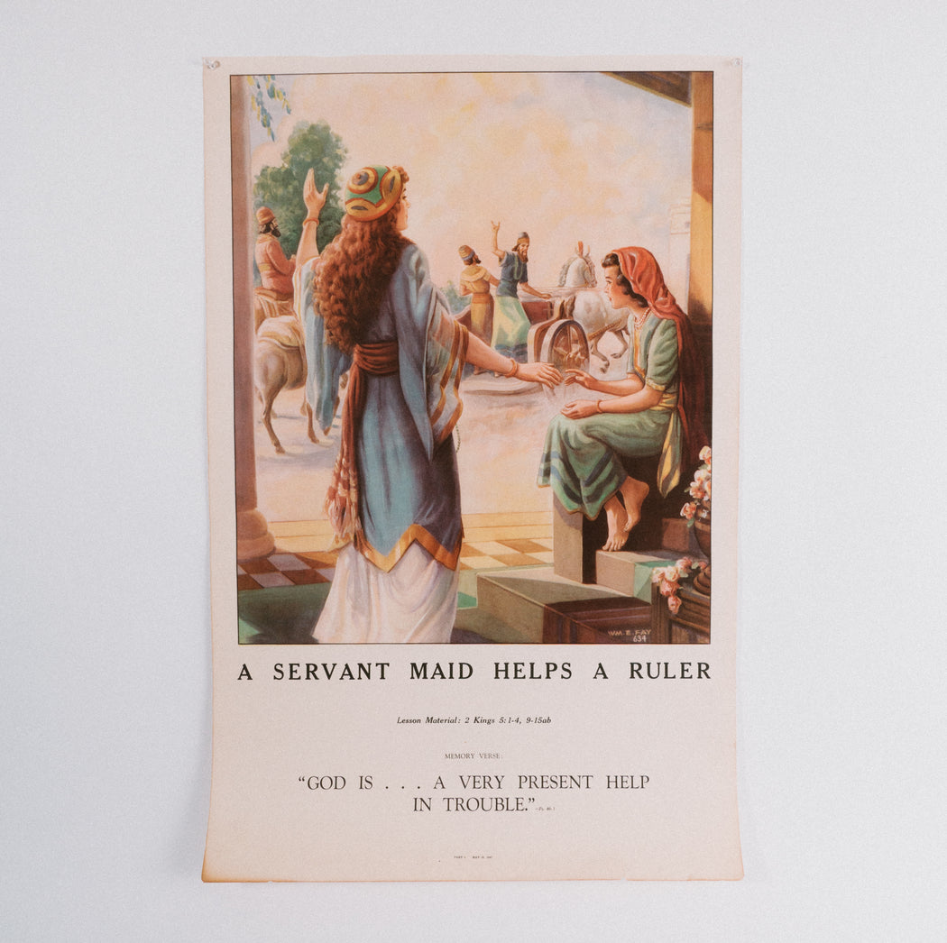 Vintage 1940's Sunday School Poster // A Servant Maid Helps A Ruler