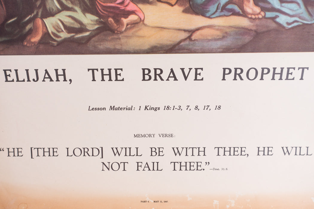 Vintage 1940's Sunday School Poster // Elijah, The Brave Prophet