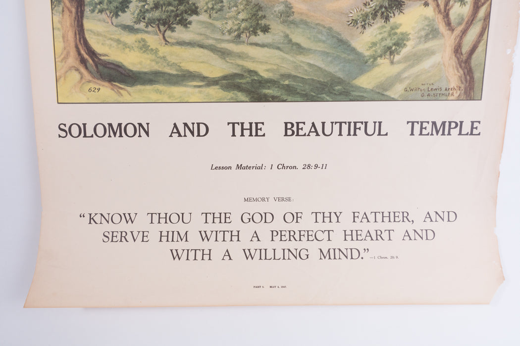 Vintage 1940's Sunday School Poster // Solomon And The Beautiful Temple