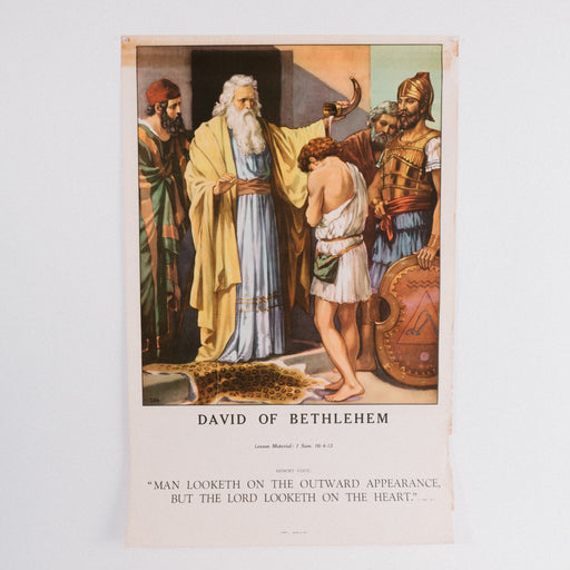 Vintage 1940's Sunday School Poster // David Of Bethlehem