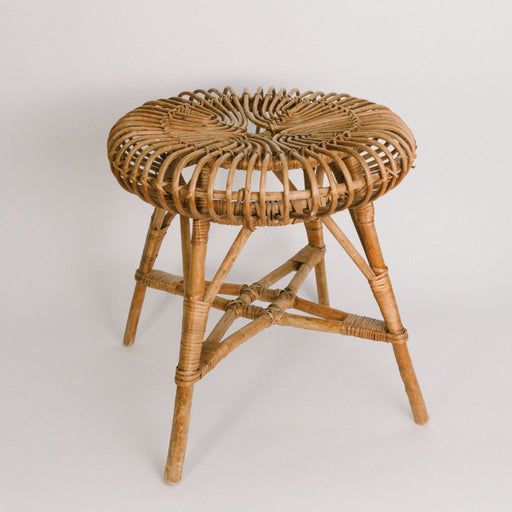 Vintage Albini Wicker Stool | Round Rattan Plant Stand