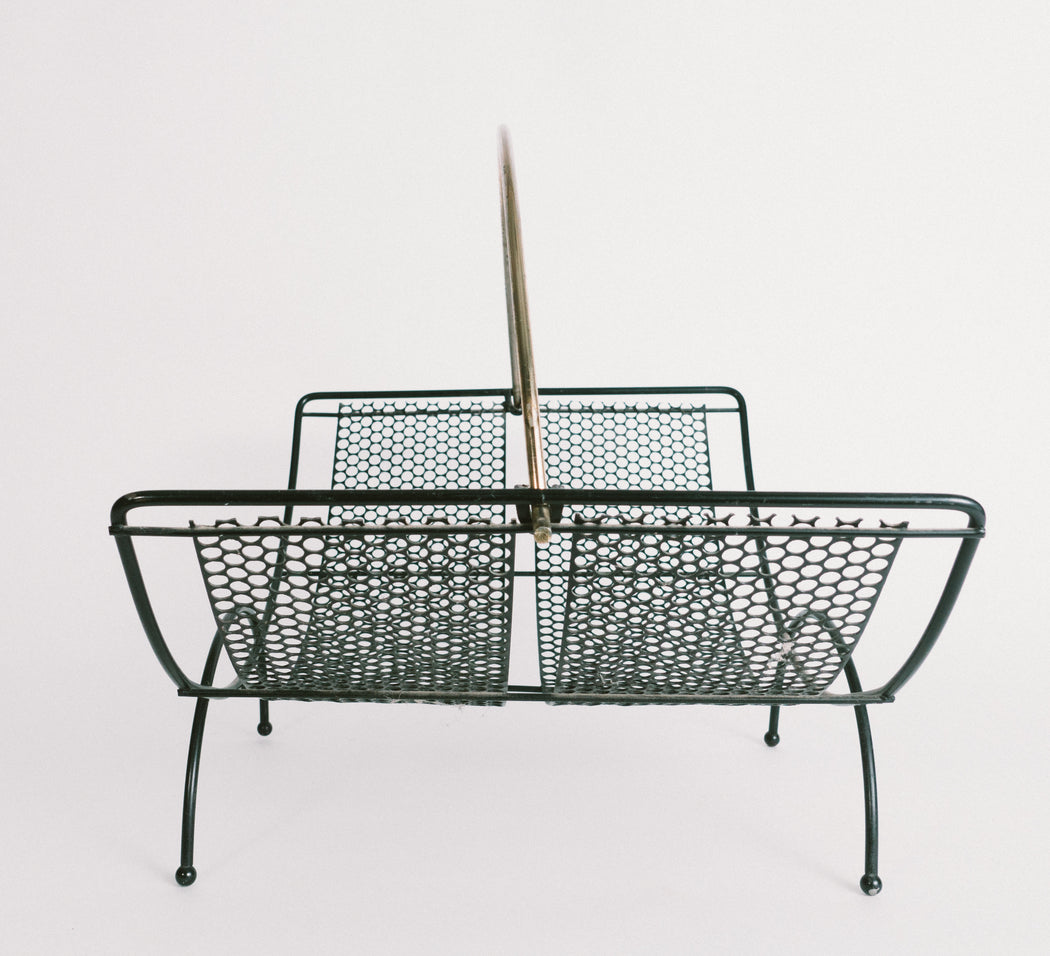 Mid Century Black and Gold Magazine Rack
