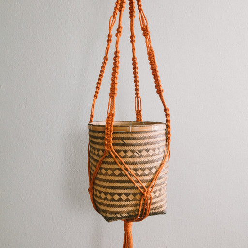 Vintage Orange Macrame Hanging Basket Planter