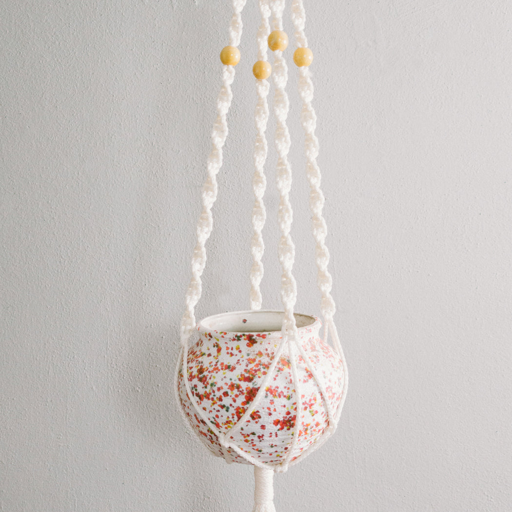 Vintage White and Yellow Macrame Hanging Planter