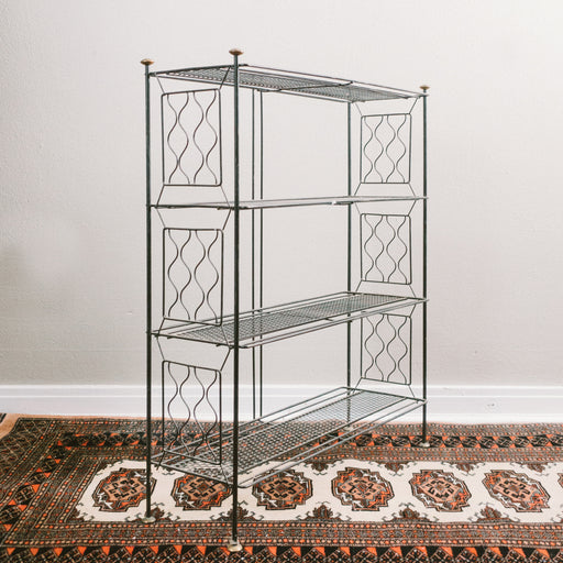 Mid Century Black Iron Entry Table Shelf