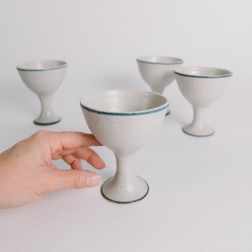 Vintage Pottery Goblets | Set of 4 Ceramic Chalice Drinking Glasses